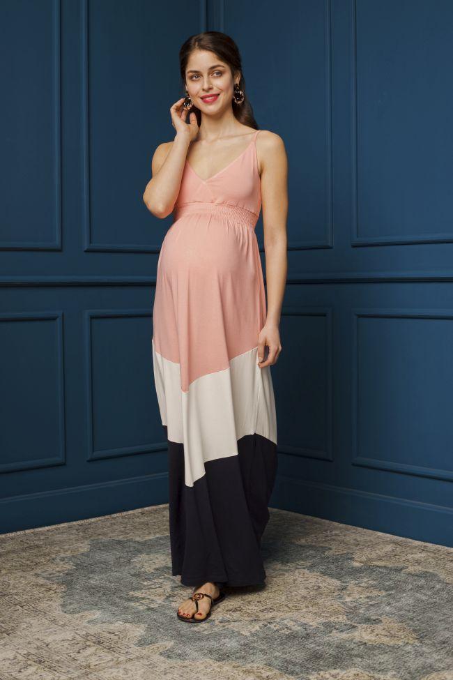 Márti ruha rózsaszín-fehér-sötétkék