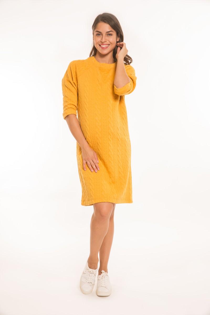 Katus kismama ruha kötött mintás mustár