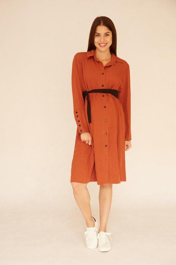 Zora őszi ingruha rozsda, fekete pöttyös
